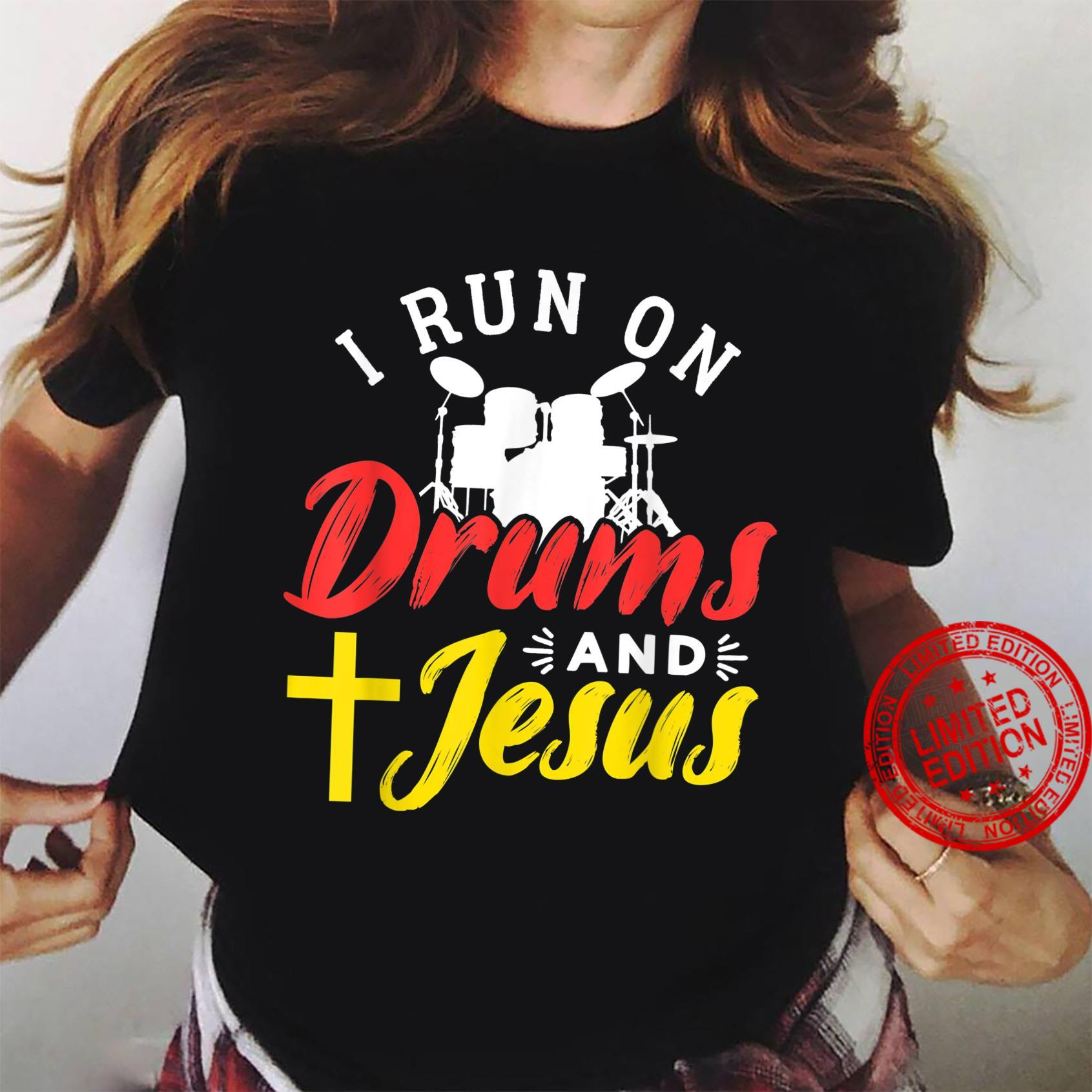 Drums And Jesus Christian Design For Drummer Shirt ladies tee