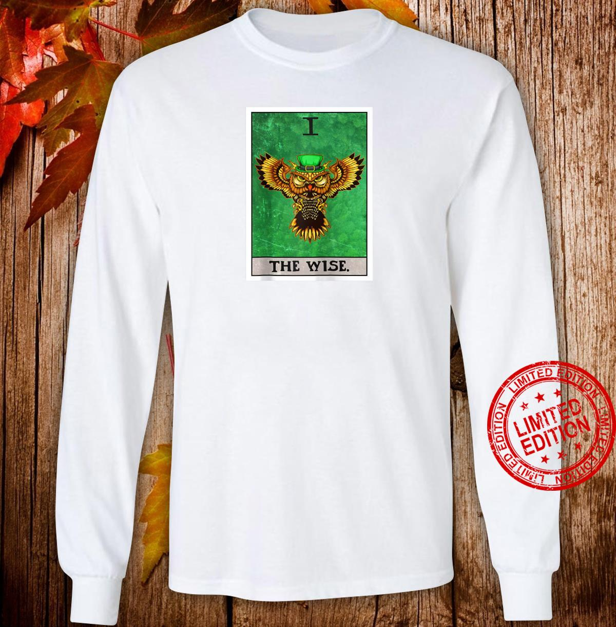 The Wise Tarot Card Aesthetic Owl St Patrick's Day Shirt long sleeved