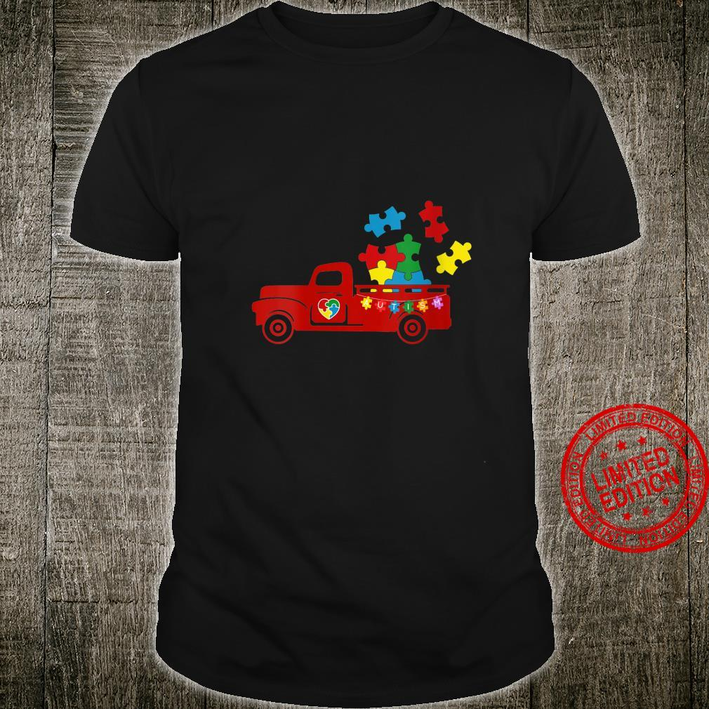 Womens Autism Awareness Month Puzzles Pick Up Truck Shirt