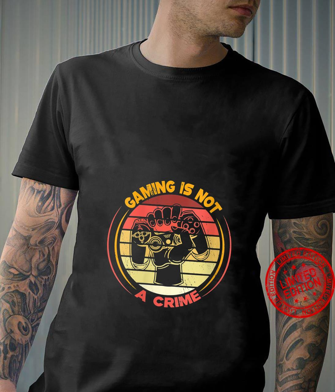 Womens Gaming Is Not A Crime game controller for gamers Shirt
